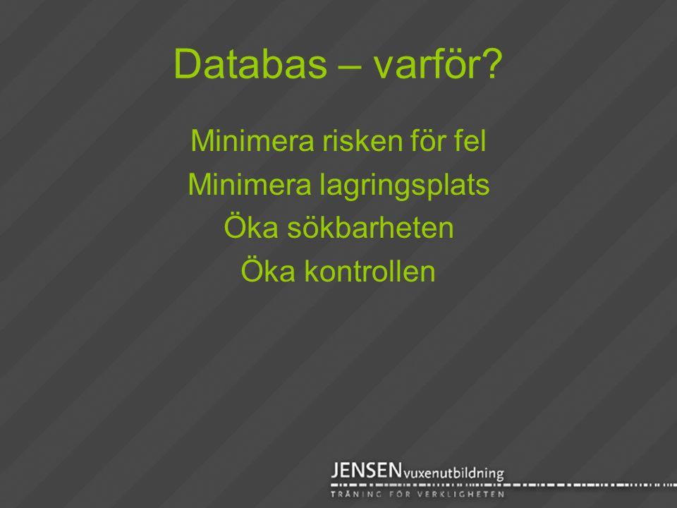 Databas – varför Minimera risken för fel Minimera lagringsplats