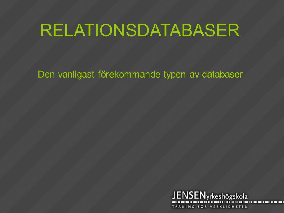 RELATIONSDATABASER Den vanligast förekommande typen av databaser