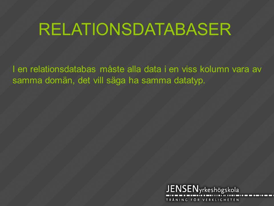 RELATIONSDATABASER I en relationsdatabas måste alla data i en viss kolumn vara av.