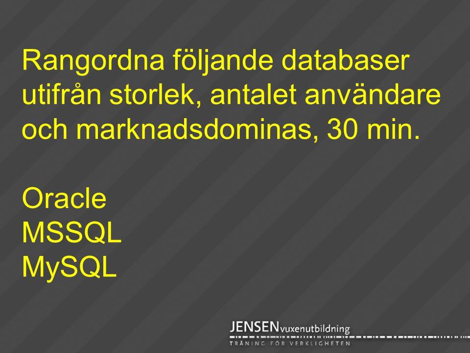 Rangordna följande databaser