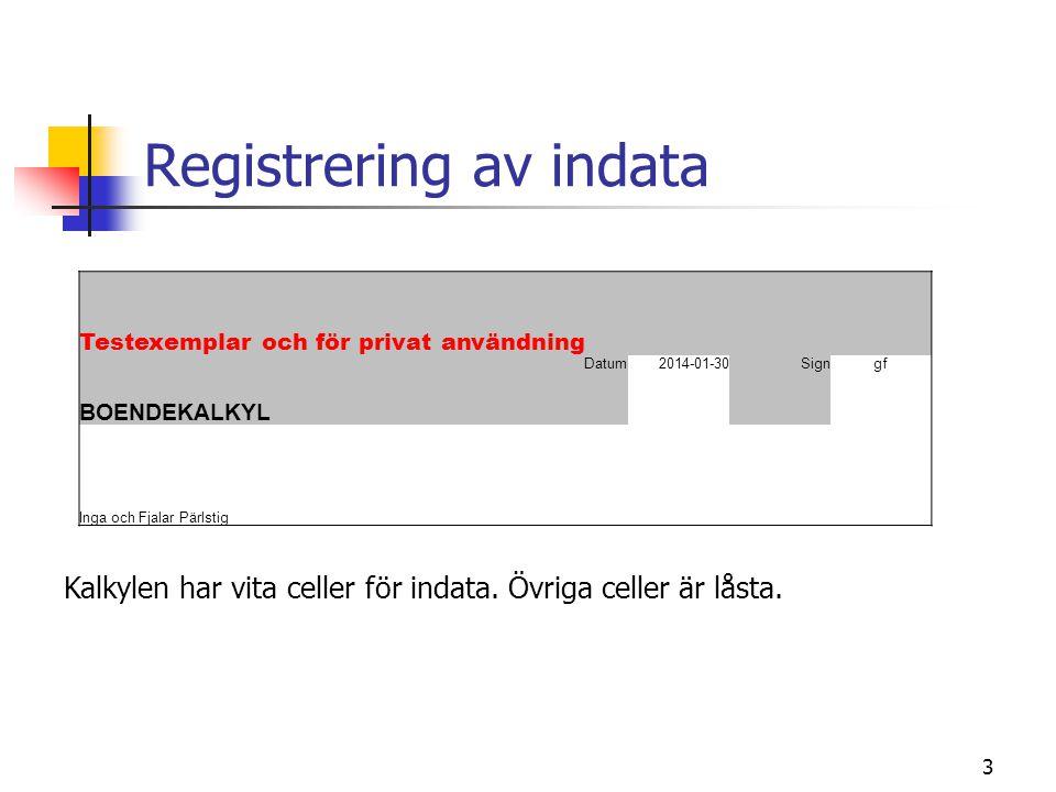 Registrering av indata