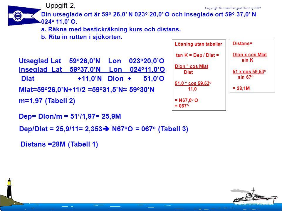 Dep/Dlat = 25,9/11= 2,353 N67oO = 067o (Tabell 3)