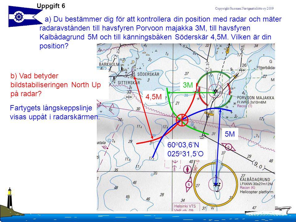 b) Vad betyder bildstabiliseringen North Up på radar 3M