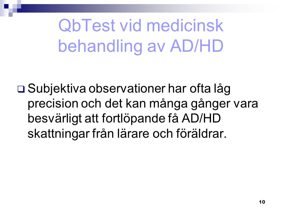 QbTest vid medicinsk behandling av AD/HD