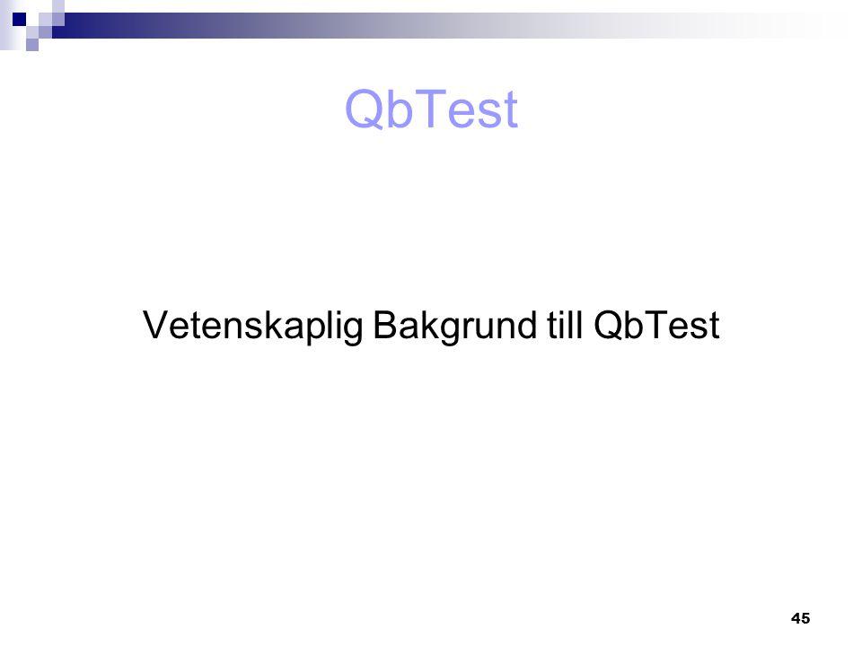 Vetenskaplig Bakgrund till QbTest
