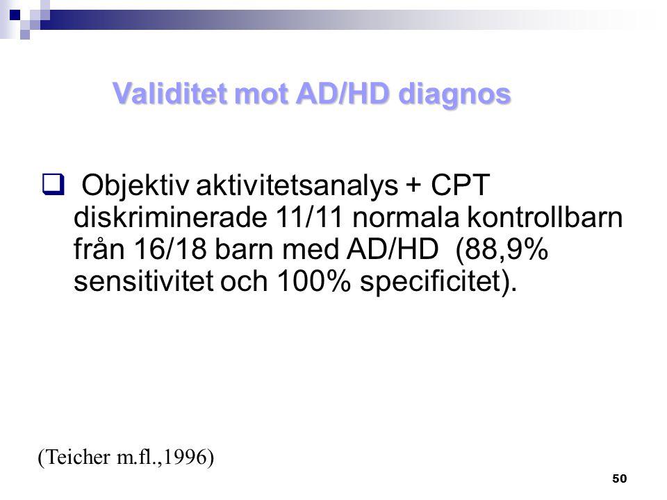 Validitet mot AD/HD diagnos