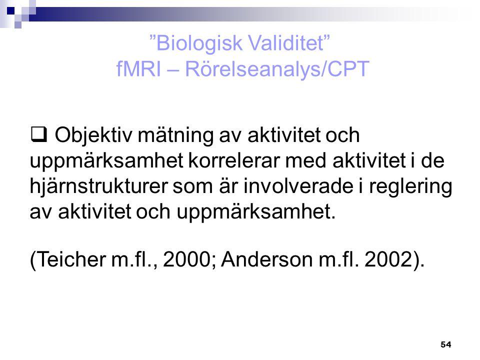 Biologisk Validitet fMRI – Rörelseanalys/CPT