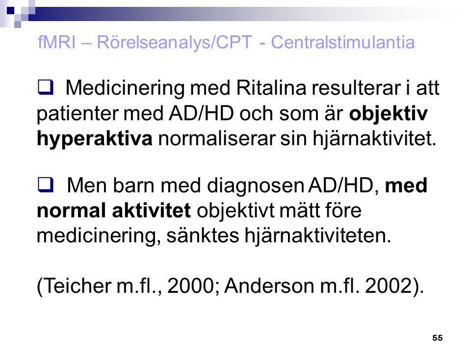 fMRI – Rörelseanalys/CPT - Centralstimulantia