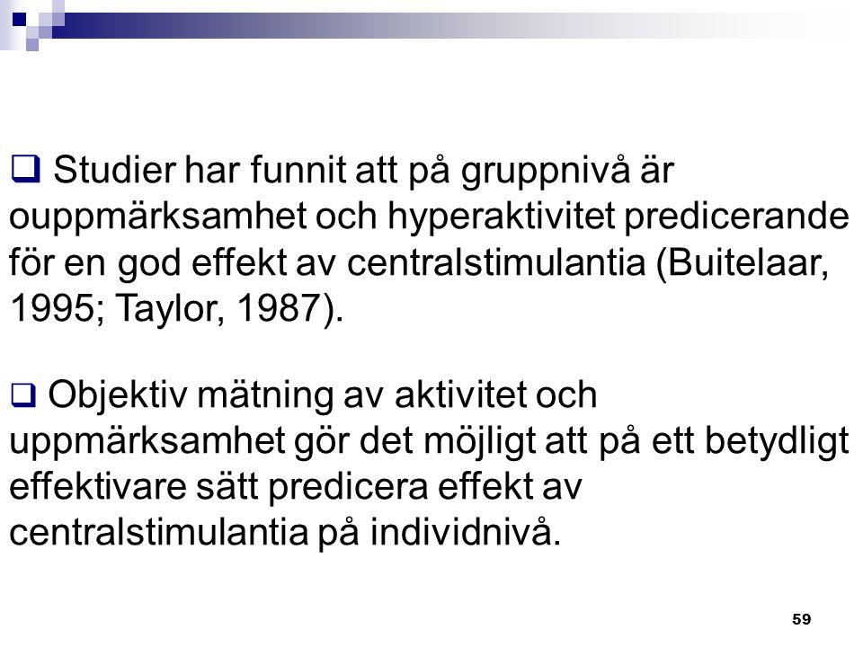 Studier har funnit att på gruppnivå är ouppmärksamhet och hyperaktivitet predicerande för en god effekt av centralstimulantia (Buitelaar, 1995; Taylor, 1987).