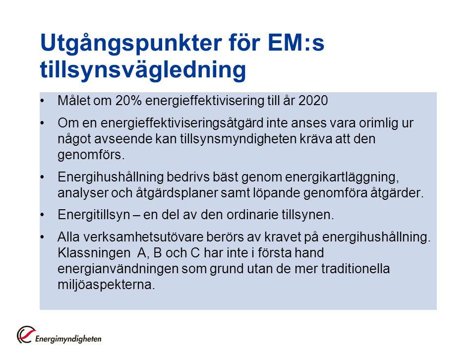Utgångspunkter för EM:s tillsynsvägledning
