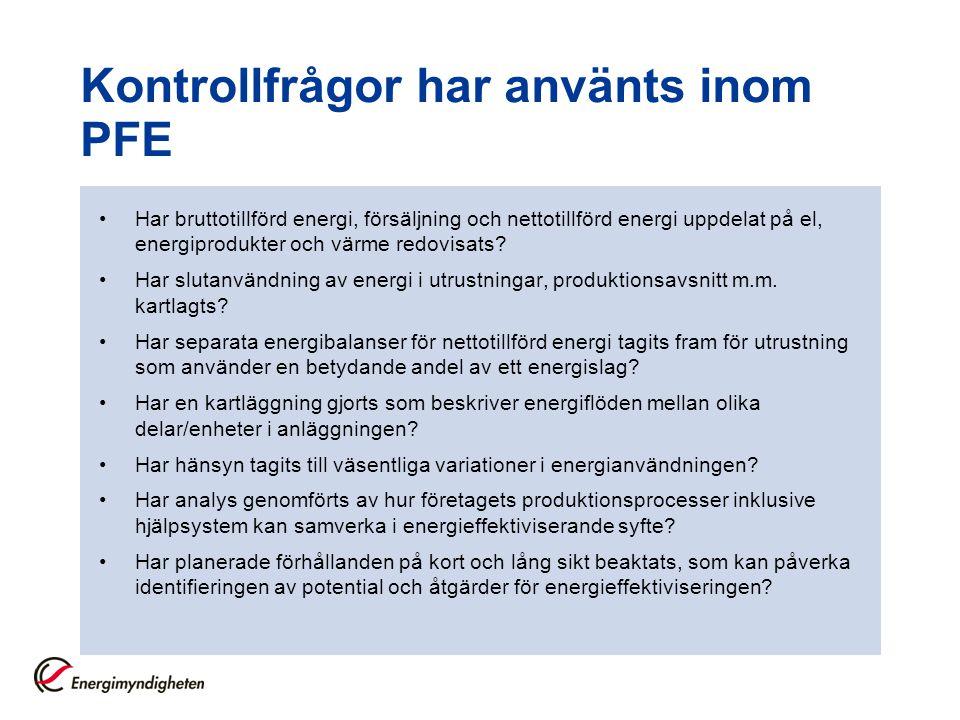 Kontrollfrågor har använts inom PFE
