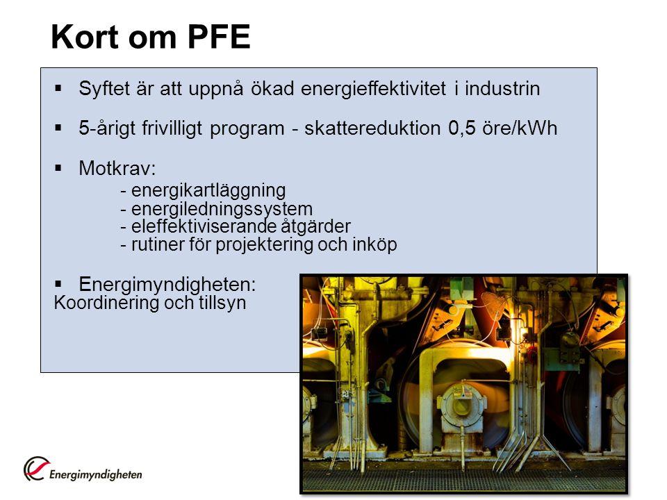 Kort om PFE Syftet är att uppnå ökad energieffektivitet i industrin. 5-årigt frivilligt program - skattereduktion 0,5 öre/kWh.