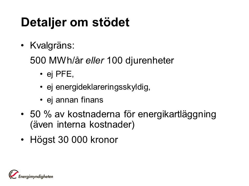 Detaljer om stödet Kvalgräns: 500 MWh/år eller 100 djurenheter