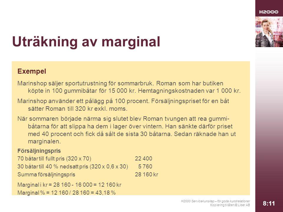 Uträkning av marginal Exempel
