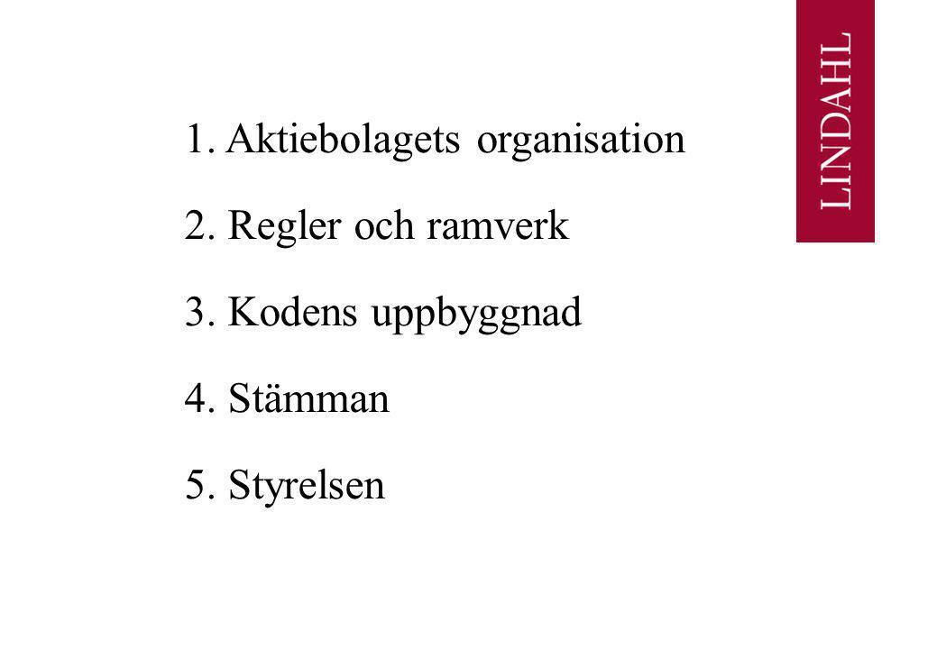 1. Aktiebolagets organisation 2. Regler och ramverk