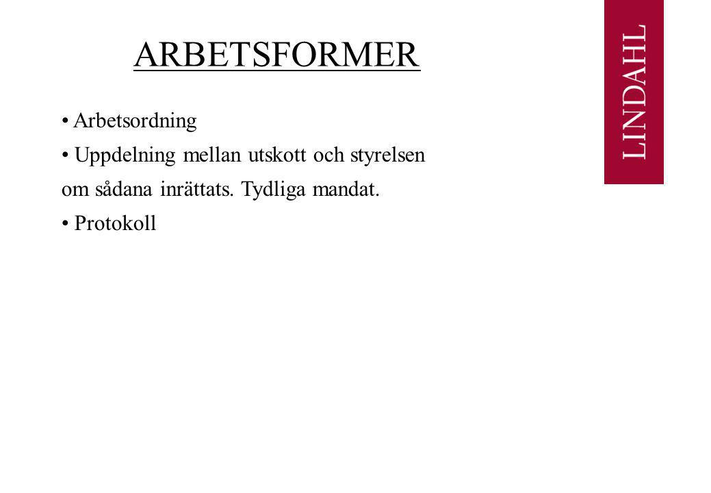 ARBETSFORMER Arbetsordning