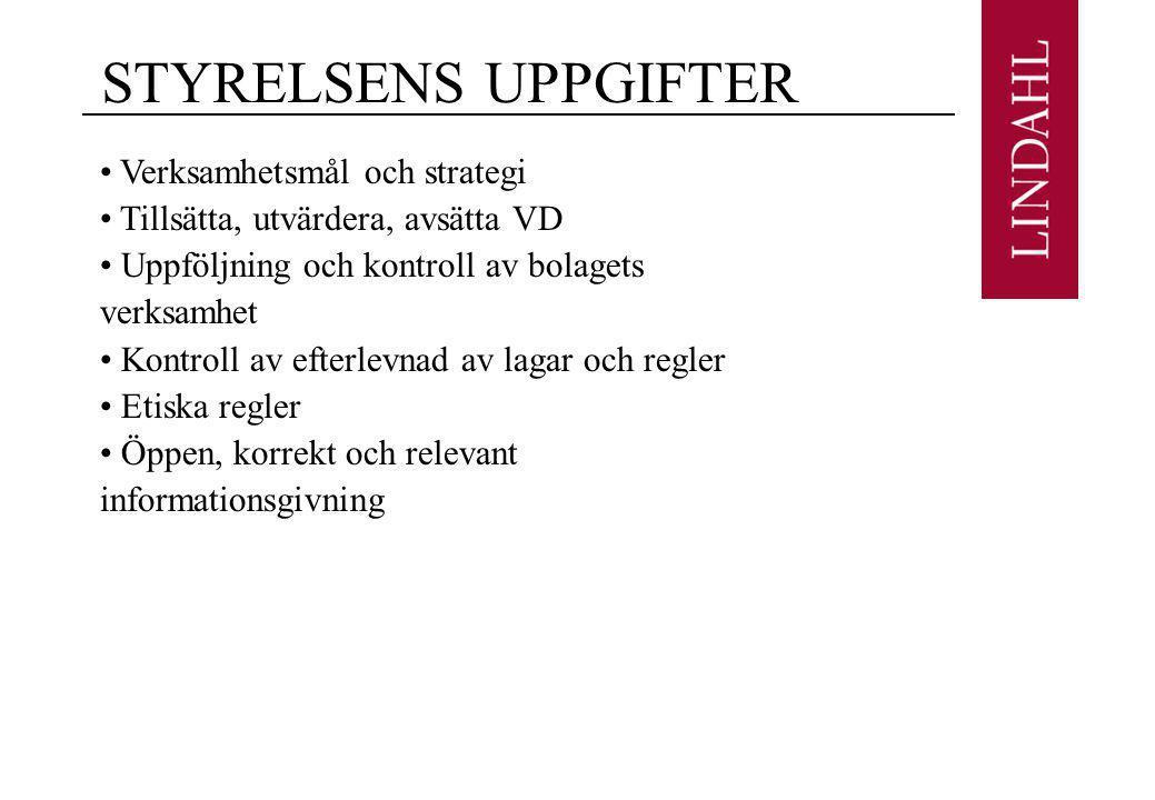 STYRELSENS UPPGIFTER Verksamhetsmål och strategi