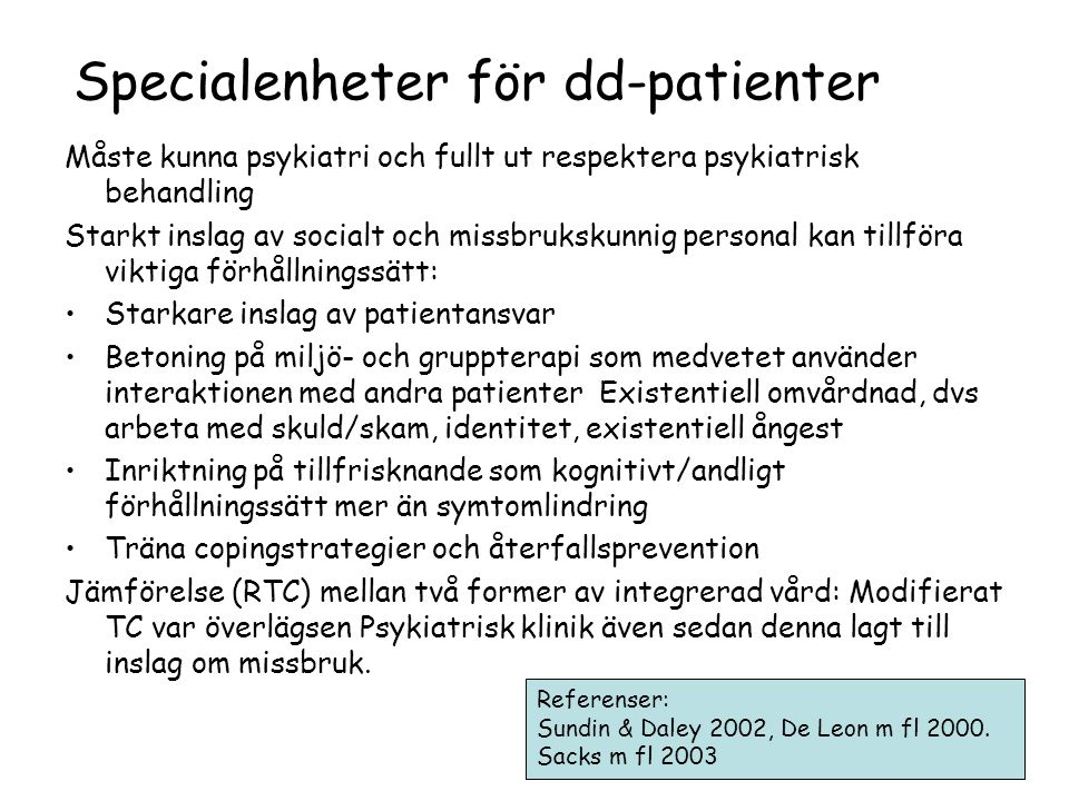 Specialenheter för dd-patienter