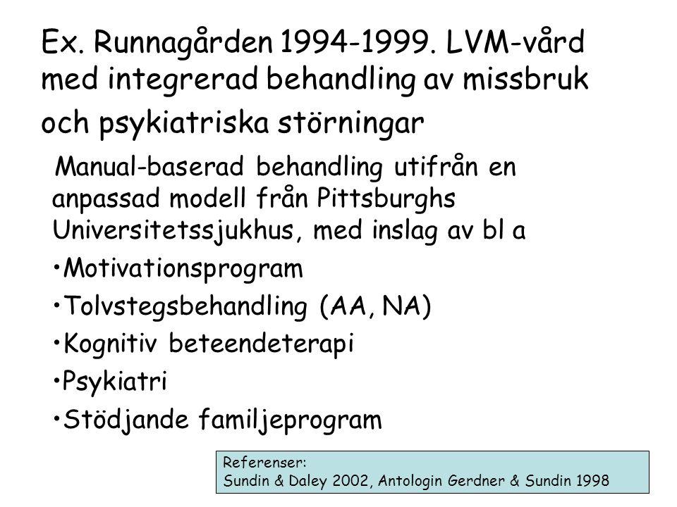 Ex. Runnagården 1994-1999. LVM-vård med integrerad behandling av missbruk och psykiatriska störningar