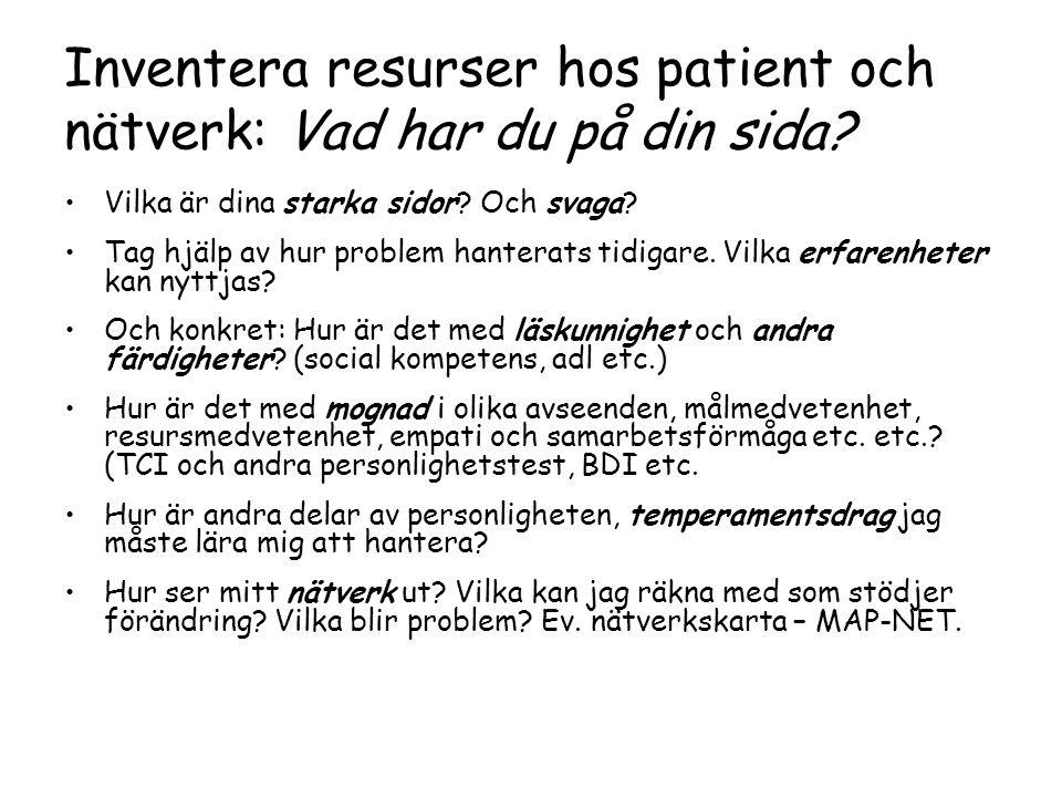 Inventera resurser hos patient och nätverk: Vad har du på din sida