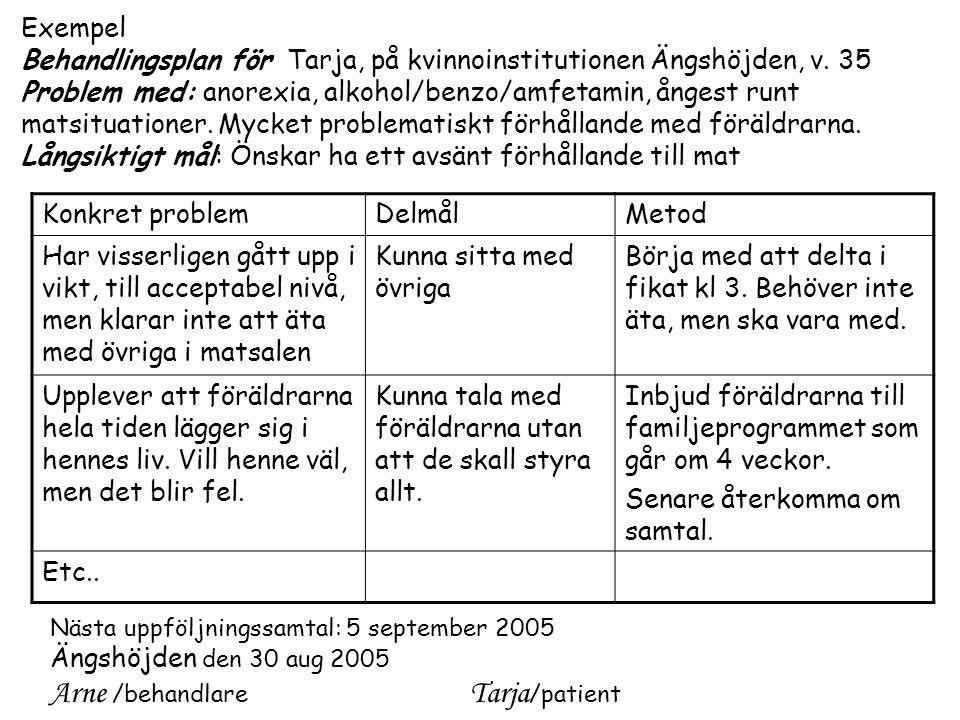 Arne /behandlare Tarja/patient