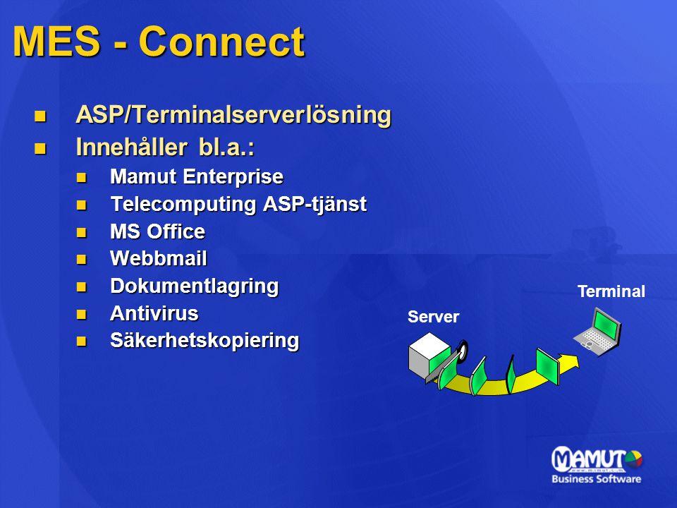 MES - Connect ASP/Terminalserverlösning Innehåller bl.a.: