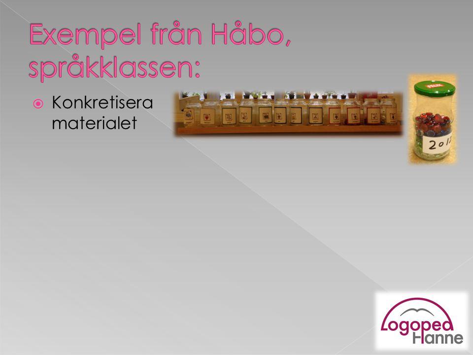 Exempel från Håbo, språkklassen: