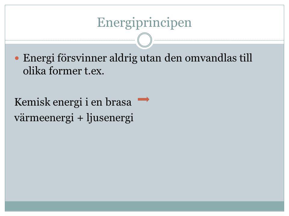 Energiprincipen Energi försvinner aldrig utan den omvandlas till olika former t.ex. Kemisk energi i en brasa.