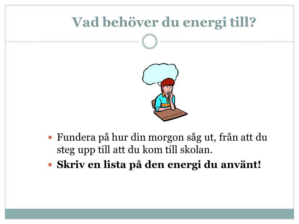 Vad behöver du energi till