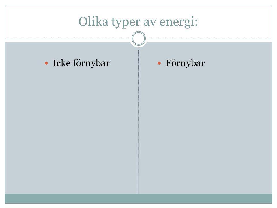 Olika typer av energi: Icke förnybar Förnybar