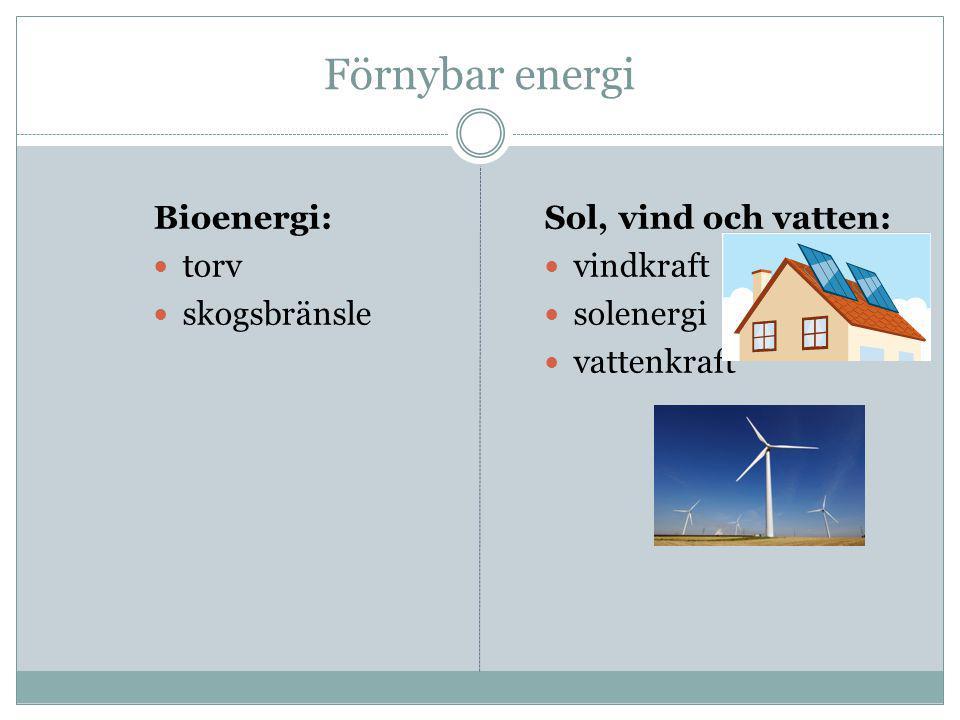 Förnybar energi Bioenergi: torv skogsbränsle Sol, vind och vatten: