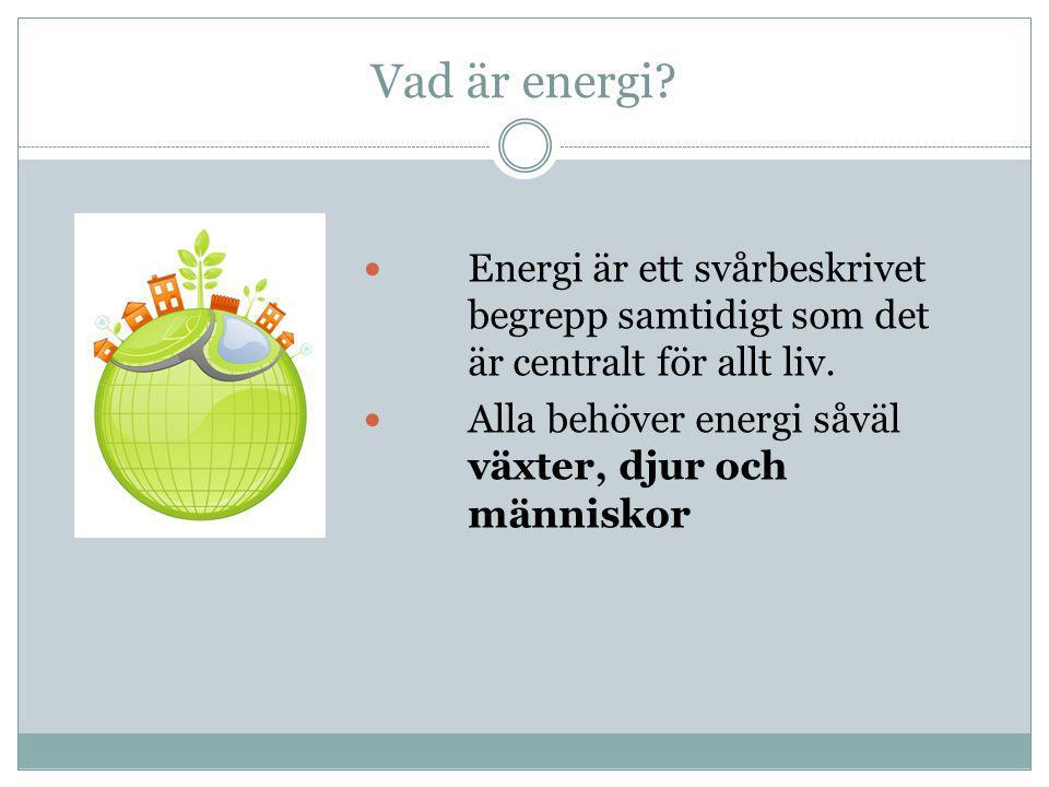 Vad är energi Energi är ett svårbeskrivet begrepp samtidigt som det är centralt för allt liv.