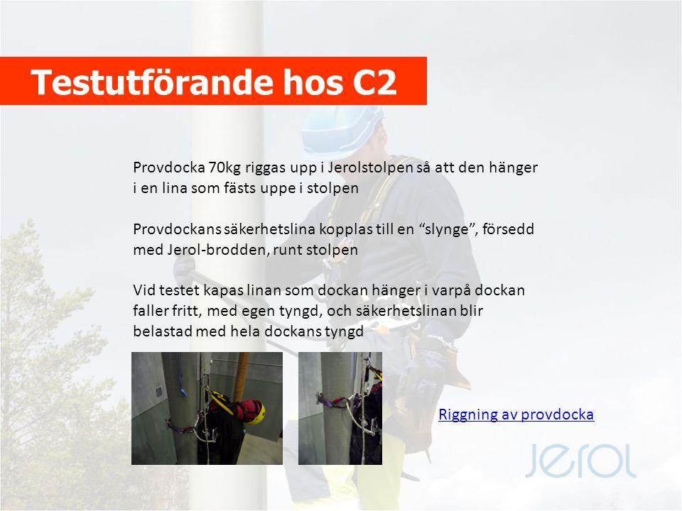 Testutförande hos C2 Provdocka 70kg riggas upp i Jerolstolpen så att den hänger i en lina som fästs uppe i stolpen.