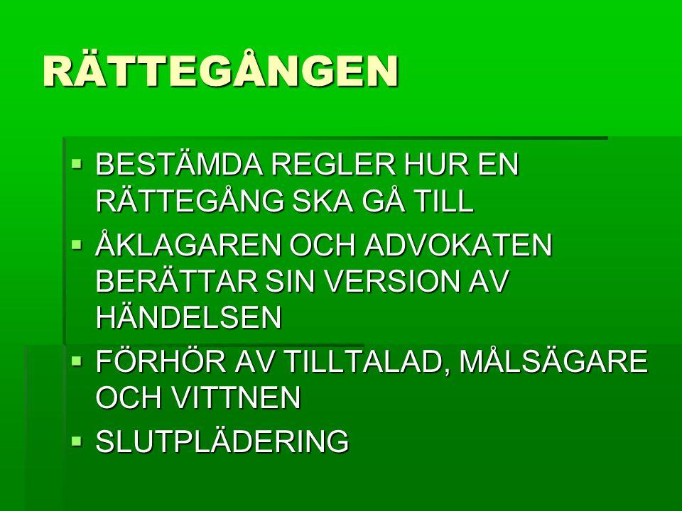 RÄTTEGÅNGEN BESTÄMDA REGLER HUR EN RÄTTEGÅNG SKA GÅ TILL