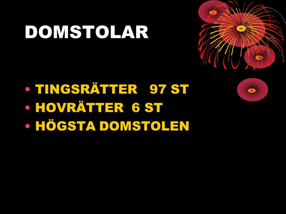 DOMSTOLAR TINGSRÄTTER 97 ST HOVRÄTTER 6 ST HÖGSTA DOMSTOLEN
