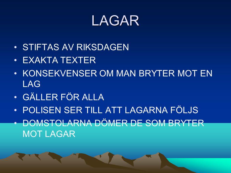 LAGAR STIFTAS AV RIKSDAGEN EXAKTA TEXTER