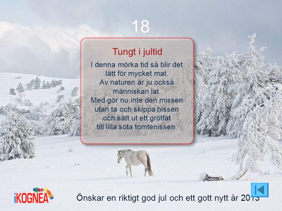 18 Tungt i jultid Önskar en riktigt god jul och ett gott nytt år 2013