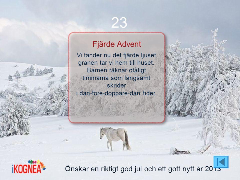 23 Fjärde Advent Önskar en riktigt god jul och ett gott nytt år 2013