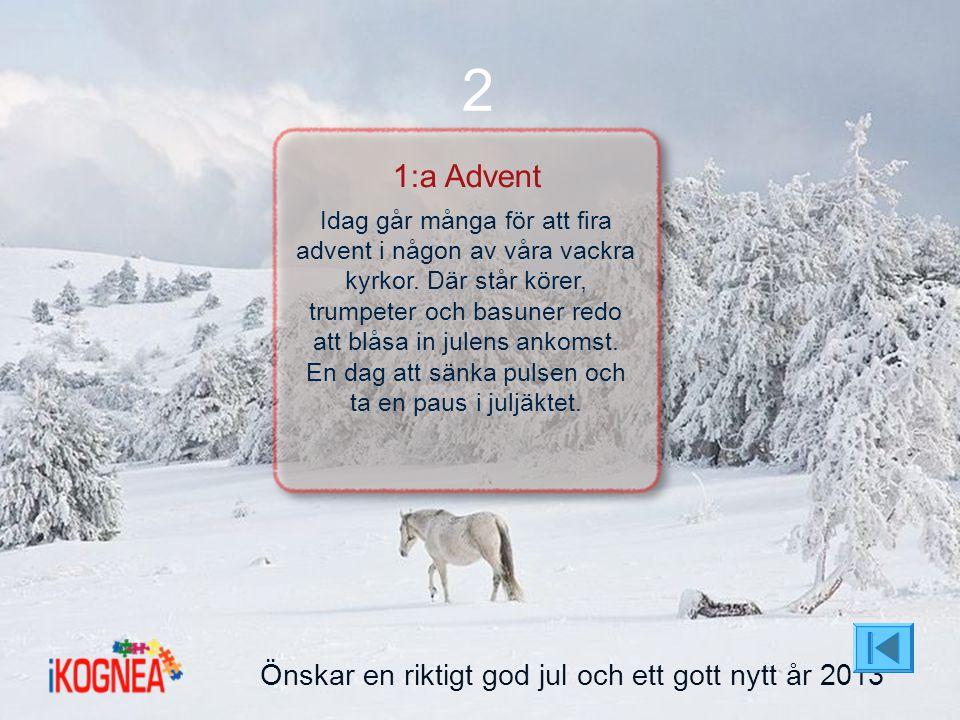 2 1:a Advent Önskar en riktigt god jul och ett gott nytt år 2013
