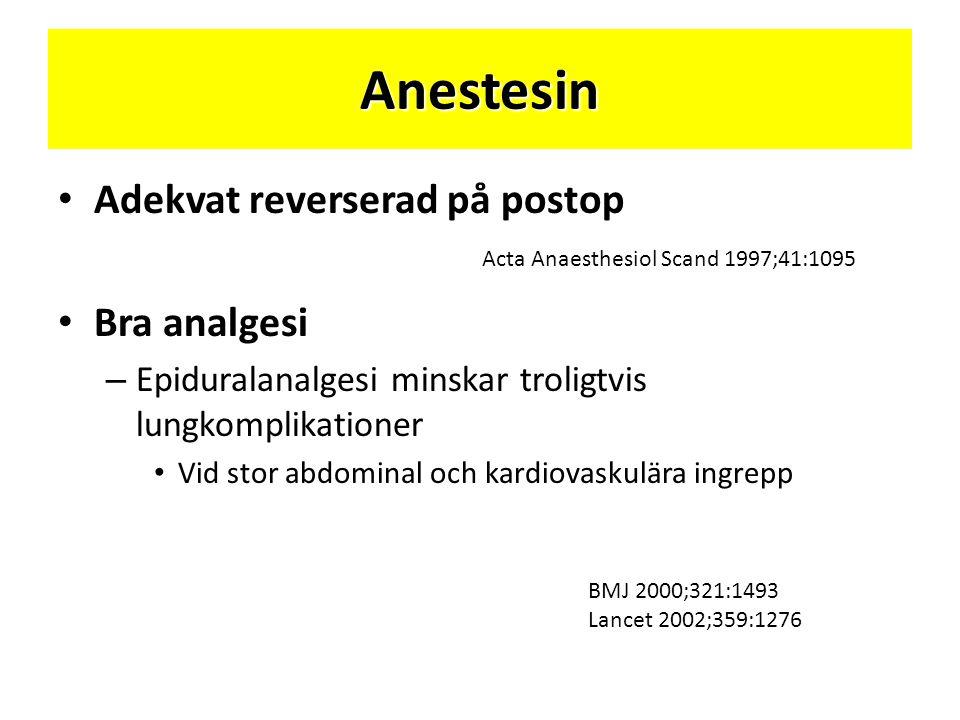 Anestesin Adekvat reverserad på postop Bra analgesi