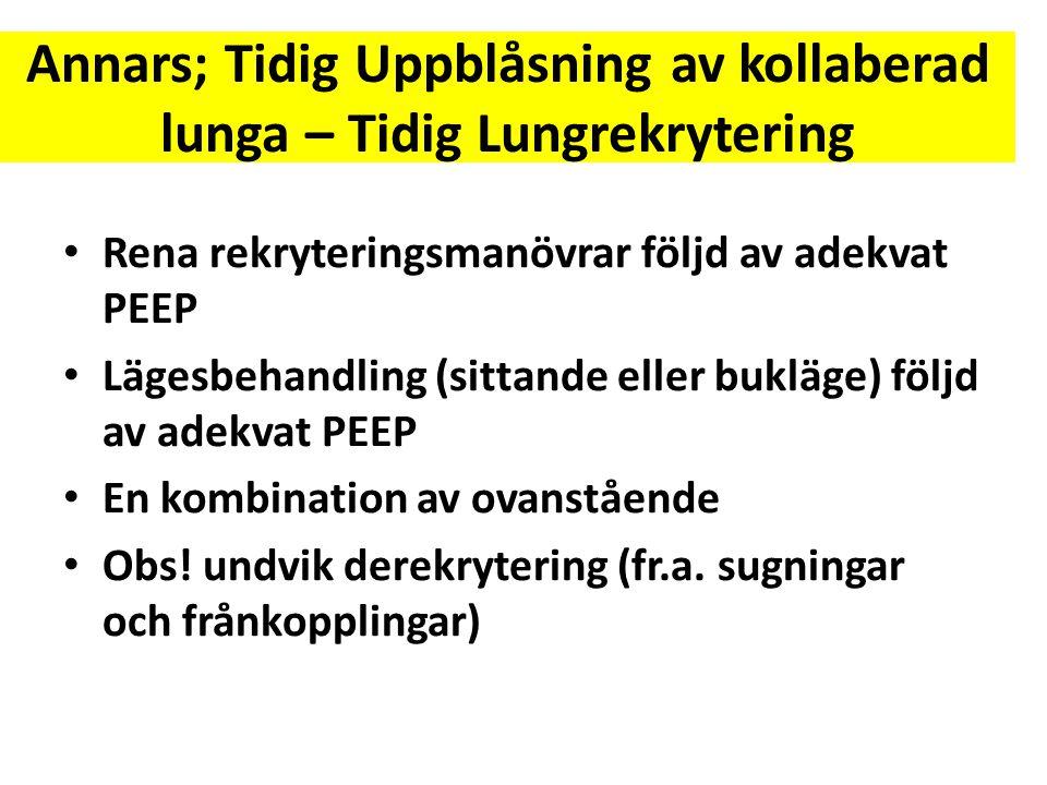 Annars; Tidig Uppblåsning av kollaberad lunga – Tidig Lungrekrytering