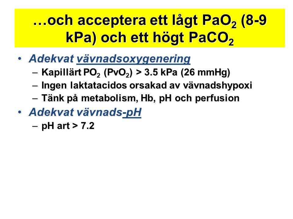 …och acceptera ett lågt PaO2 (8-9 kPa) och ett högt PaCO2
