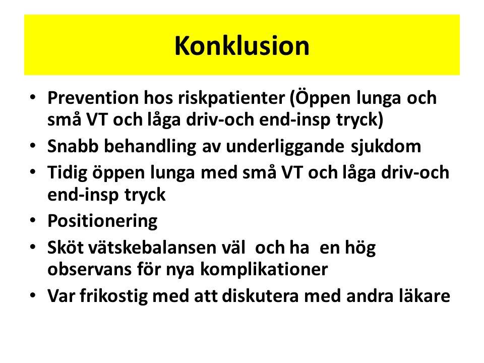 Konklusion Prevention hos riskpatienter (Öppen lunga och små VT och låga driv-och end-insp tryck) Snabb behandling av underliggande sjukdom.