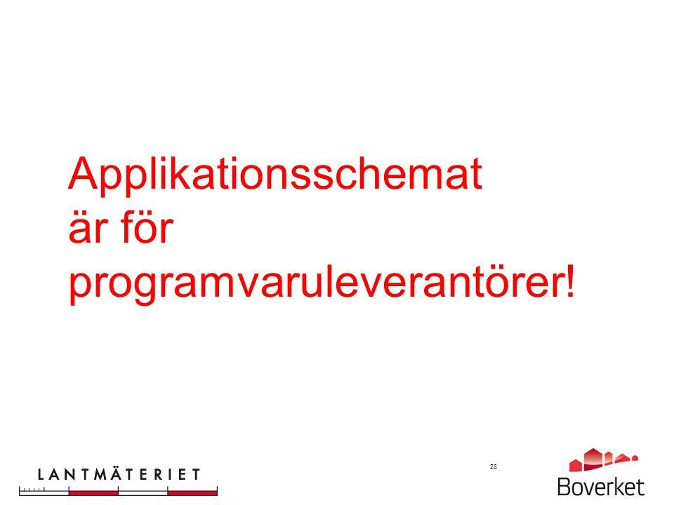 Applikationsschemat är för programvaruleverantörer!