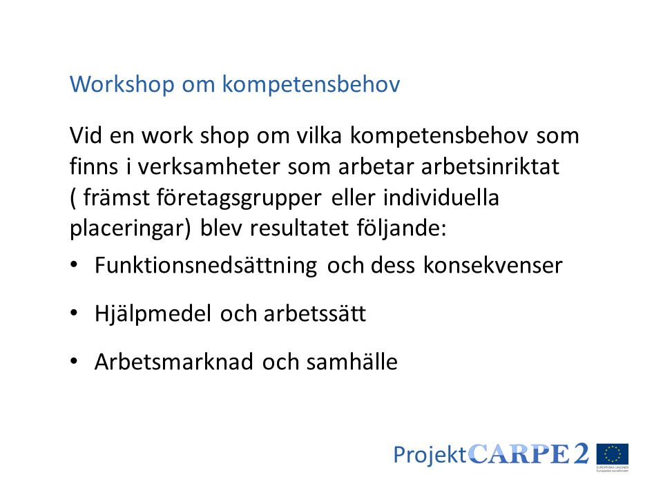 Workshop om kompetensbehov