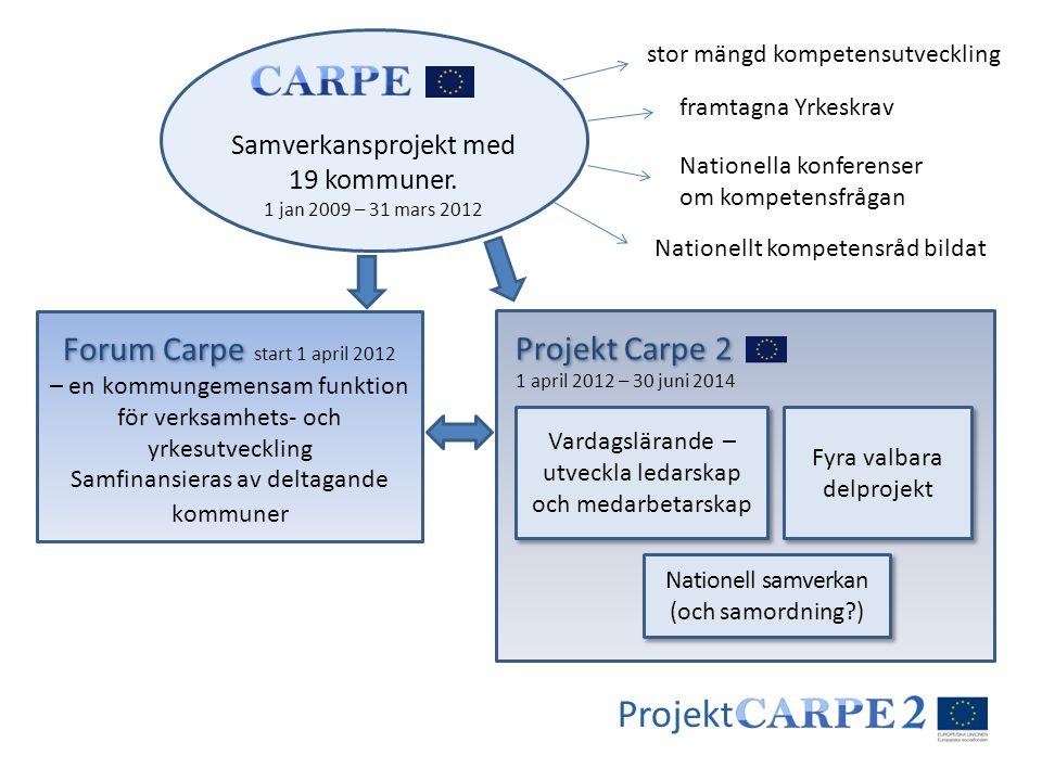Projekt Samverkansprojekt med 19 kommuner. 1 jan 2009 – 31 mars 2012