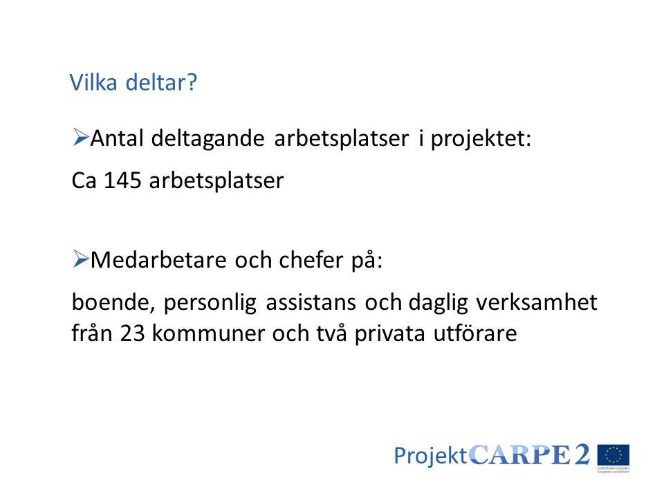 Vilka deltar Antal deltagande arbetsplatser i projektet: Ca 145 arbetsplatser. Medarbetare och chefer på: