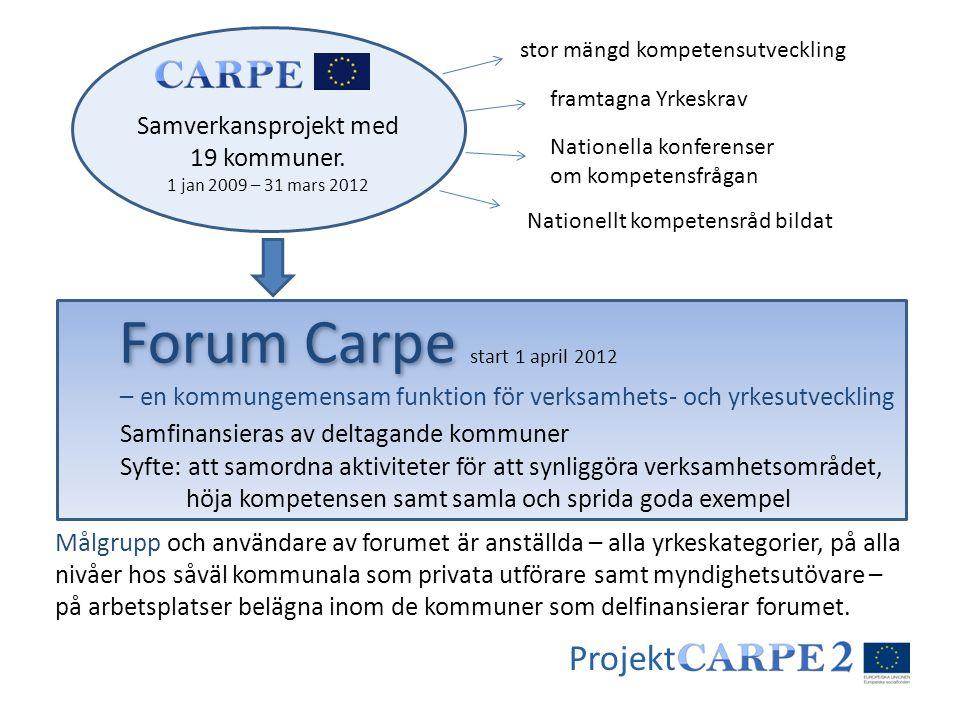Samverkansprojekt med 19 kommuner. 1 jan 2009 – 31 mars 2012