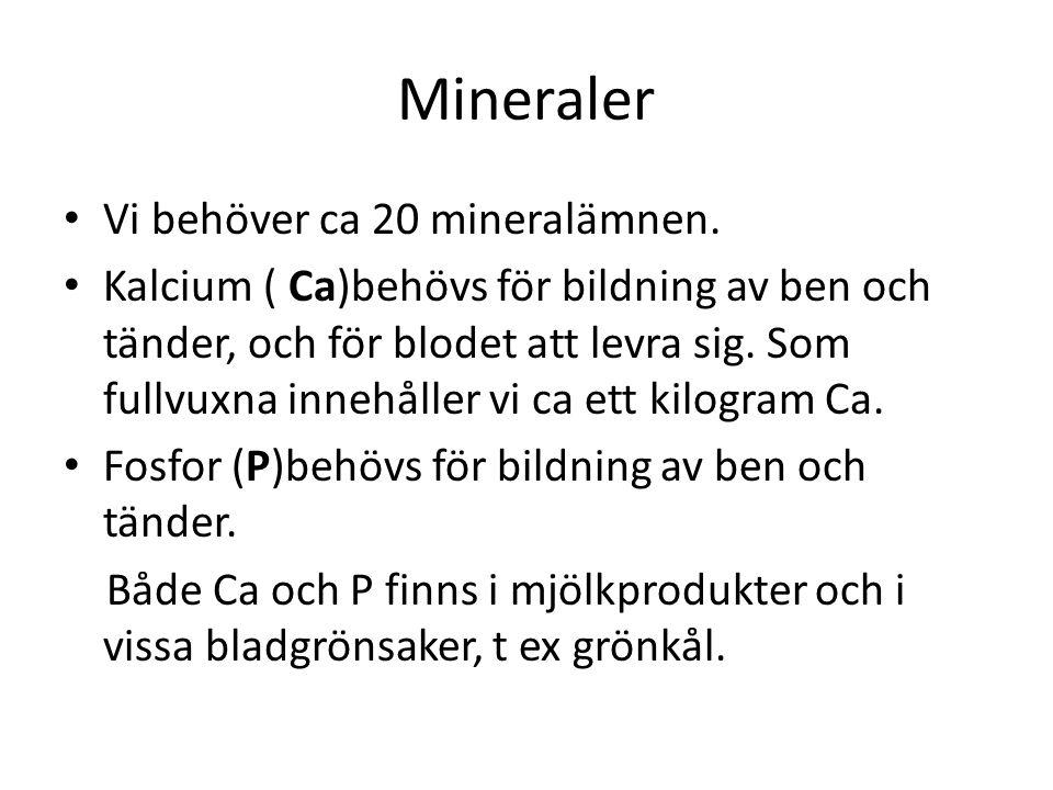 Mineraler Vi behöver ca 20 mineralämnen.