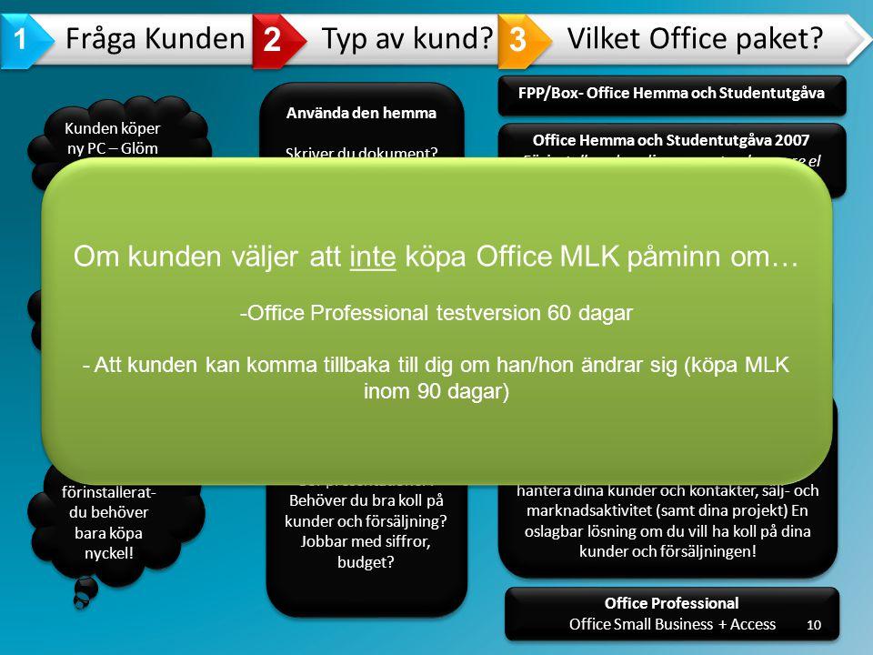 2 3 1 Om kunden väljer att inte köpa Office MLK påminn om…